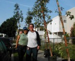 Rosa Bautista of Tree People and neighbor Stacey Louria