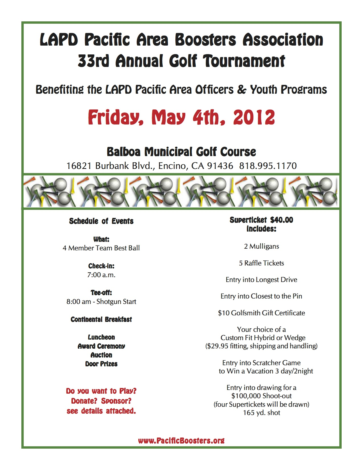 LAPD Golf Tournament needs Sponsors/Players