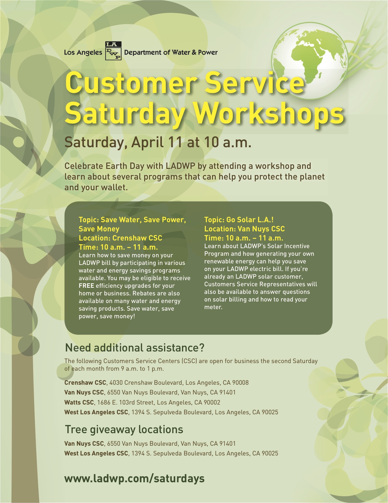 LADWP two Customer Service Workshops on Saturday | South Mar