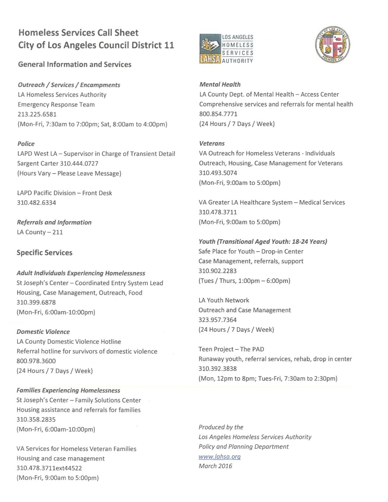 Homeless Services Call Sheet - CD 11 copy